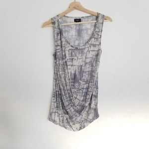 Anthropologie Deletta Gray Ruched Wrap Top Small